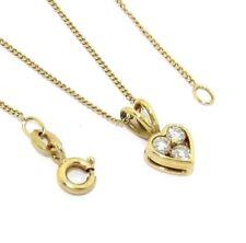 Mujer 18ct 18 Quilates Cadena de oro y corazón SET COLGANTE CON DIAMANTES
