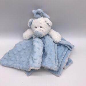 Blankets And & Beyond Blue White Teddy Bear Security Lovey Nunu Minky Dot J9
