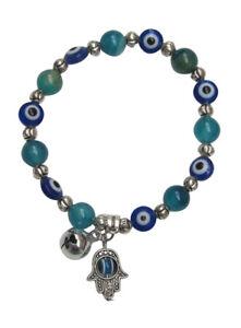 Bracelet Adjustable Elastic Eye And Hand Of Fatima + Bell, Beads Turquoise