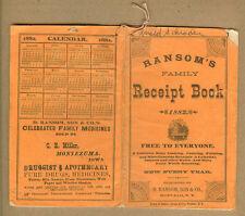 1882 Ransom Medicines, C.E. Miller - Druggist, Montezuma, Iowa Ia,Medicinal Wine