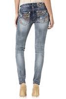 Miss Me Signature Skinny Zig Zag Embroidered Distressed Sequin Jeans NIP 24 25