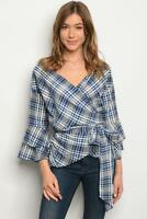 Women's Plaid Wrap Blouse with Ruffle Sleeves