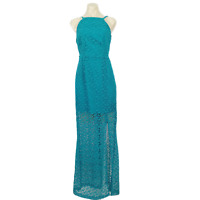 SEDUCE Dress Turquoise Teal Maxi Lace Backless V Size 10