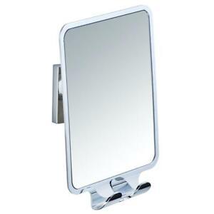 Wenko Vacuum-Loc Quadro Bathroom Cosmetic Mirror, 2 Hooks, Plastic, Silver Shiny