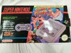 1992 Super Nintendo SNES SNSP-001A(UKV) Console 2 Controller 3 Game In Box #768