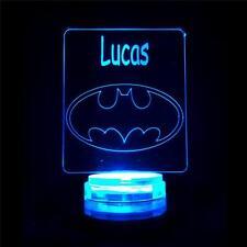 Batman Personalised Name Night Light - Novelty Superhero Lamp for Kids Room