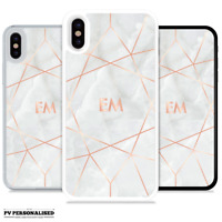 INITIALS NAME ROSE GOLD MARBLE PERSONALISED PHONE CASE COVER FOR APPLE IPHONE