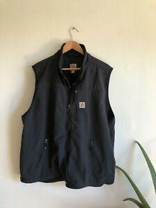Carhartt Mens Fleece Lined Vest Size 2XL Black Work Wear Soft Shell Jacket