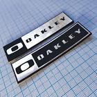 2 TWO x OAKLEY - Logo Sticker Badge - Metallic Aluminium 70 mm / 20 mm