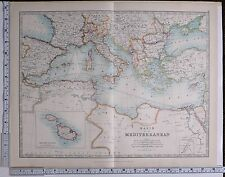 1915 LARGE MAP BASIN OF THE MEDITERRANEAN ITALY GREECE ALGERIA SPAIN BULGARIA