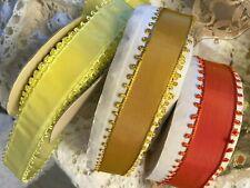 "Vintage Picot 7/8"" Taffeta Edging Trim Rayon Ribbon 1yd Made in France"