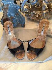 a700865e8a8 Brian Atwood Black Patent Leather Open Toe Slides Heels Shoes 38