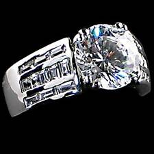 WIDE BAND SOLITAIRE CZ w/Baquette Accents Engagement Ring_SIZE-5_NF_925 SILVER