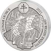 Ruanda Lunar 2021 Jahr des Ochse Year of the Ox 1 OZ Silber Silver Rwanda