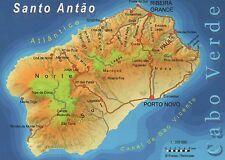 Santo Antao, Cape Verde, Cabo Verde, Near Africa Coast, Island --- Map Postcard