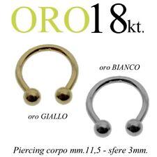 Piercing body VALENTINO CORPO TRAGO orecchio capezzolo ORO 18kt. yellow GOLD 18k
