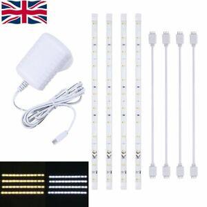 4x Plug In LED Strip Lights Under Kitchen Cupboard Cabinet Backgroud Lighting UK