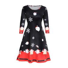 HOT Womens Xmas Christmas Santa Skater Ladies Snowman Swing Dress Plus Size US