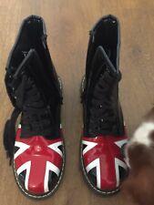 Union Jack Patent Black Thick SolE Mod punk Boots Dr Martens style Size 5