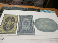 Dollhouse Miniature area rugs for 1:12 scale in blue