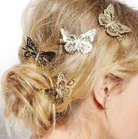 Elegant Women Golden Butterfly Hair Clips Hairpins Wedding Barrette Accessories
