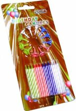 New Birthday Candles With Holders 20 Pieces Various Colors 4 Different Stripy UK