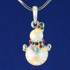 """Snowman Made With Swarovski Crystal AB Winter Snow Multi Color Pendant 18"""" Chain"""