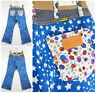 """NEW WRANGLER by PETER MAX  RETRO FLARE JEANS """"COBALT STAR MIX"""" CROP MID ANKLE"""