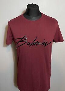 Balmain Paris Mens Signature Logo Maroon Black T-Shirt Medium RRP £280 Tee Rare