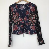 Free People Blue Mixed Floral Peplum Top XS Tie Button Front Boho Peasant Crop