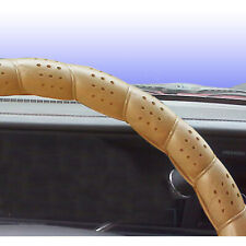 """Classic Grip Synthetic Leather Old School Wrap Steering Wheel Cover Beige 16"""""""