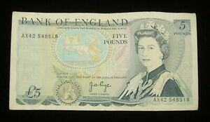 Bank Of England Five Pound £5 Note 100% GENUINE AX42..