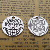 10pcs Round Charms We're all mad here Old Silver Beads Pendant DIY 20*20mm