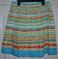 Talbots Petites Striped Spring Multi-color Skirt Size 14 100% Cotton 32x23