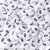 500 Weiß Acryl Zahlen Spacer Perlen Beads Flach Scheiben 7mm