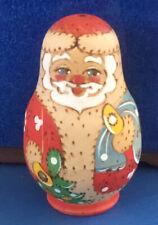 Matryoshka 4 Piece Lime wood Russian 3� Santa Christmas Nesting Dolls
