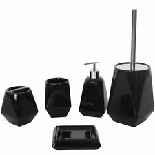 5-teiliges Badezimmerset MCW-C71, Badutensilien Badaccessoires Keramik, schwarz