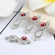 10pcs Silver Lucky 8 Ladubugs Beads Connector Rhinestones DIY Bracelet 28*9mm