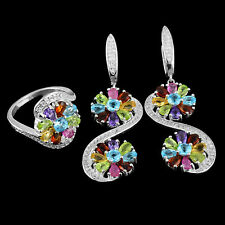 925 Sterling Silver Natural Citrine Amethyst Peridot Ruby Gems Earring Ring