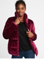 Old Navy Frost-Free Velvet Puffer Jacket for Women, Size XXL Wine