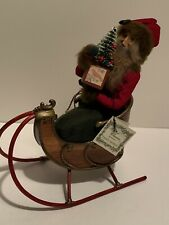 Byers Choice Retired 1989 Dyedt Moroz Russian Santa in Bamboo Sleigh