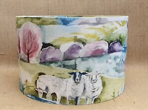 Country Voyage BUTTERMERE sweet pea sheep farming drum lampshade  15 20 25 30cm