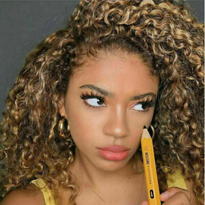 Luxury Lace Front Kinky Curly Honey Blonde Highlights Full Lace Human Hair Wig