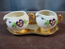 Crown Devon Creamer / Milk Jug with Gold Tray Pansy #774 England