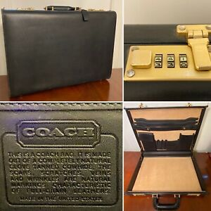 Vtg COACH Black Leather & Suede Hard-Shell Briefcase Attaché Brass Combo-Lock