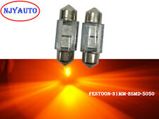 "2X Amber Yellow 31MM 1.22"" 5050 SMD Interior Dome Festoon LED Bulb Door Light"