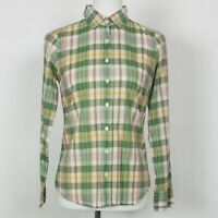 J. Crew Size 0 Button Down Blouse The Perfect Shirt Green Plaid Cotton Casual