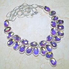 MARVELOUS HANDCRAFTED MYSTICAL CHECKER RAINBOW FIRE TOPAZ SILVER NECKLACE 20 3/4