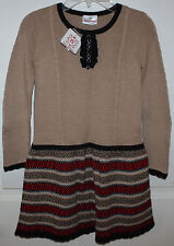 NWT Girls Hanna Andersson Brown Sweater Dress Size 130 ~ US 7-10