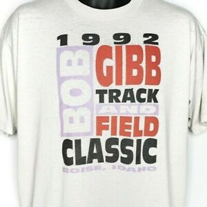 Bob Gibb Track And Field Classic T Shirt Vintage 90s 1992 Boise Made In USA XL